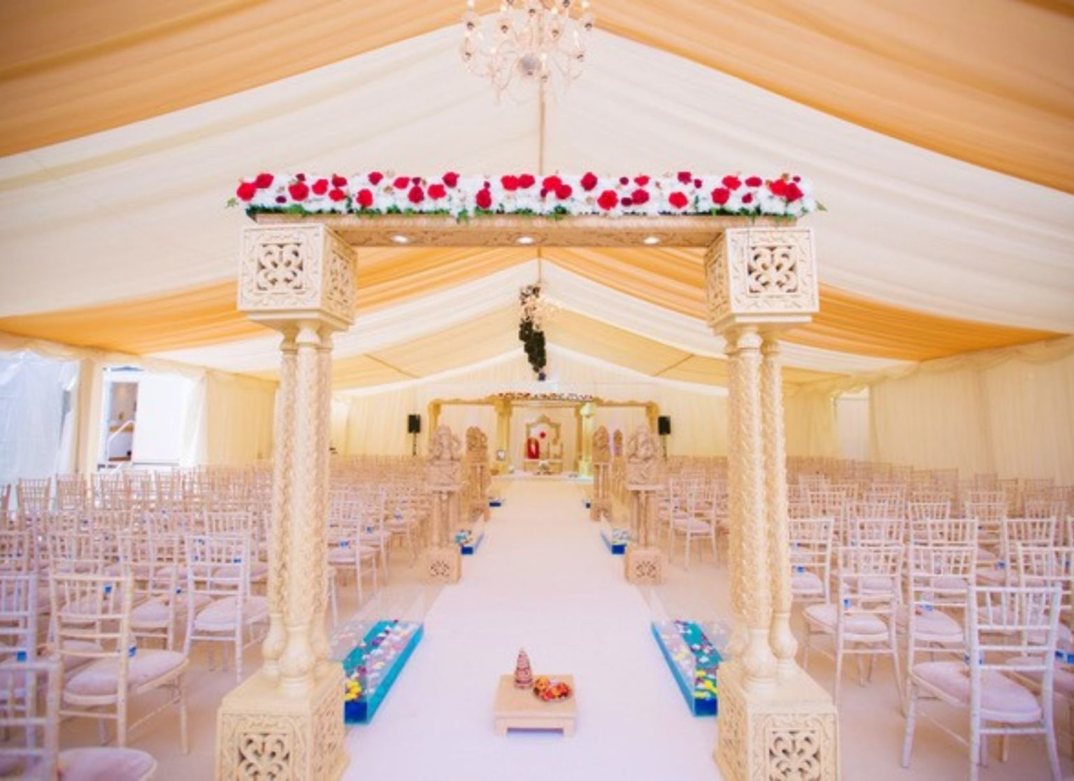Asian Wedding Marquee with Pleated Lining
