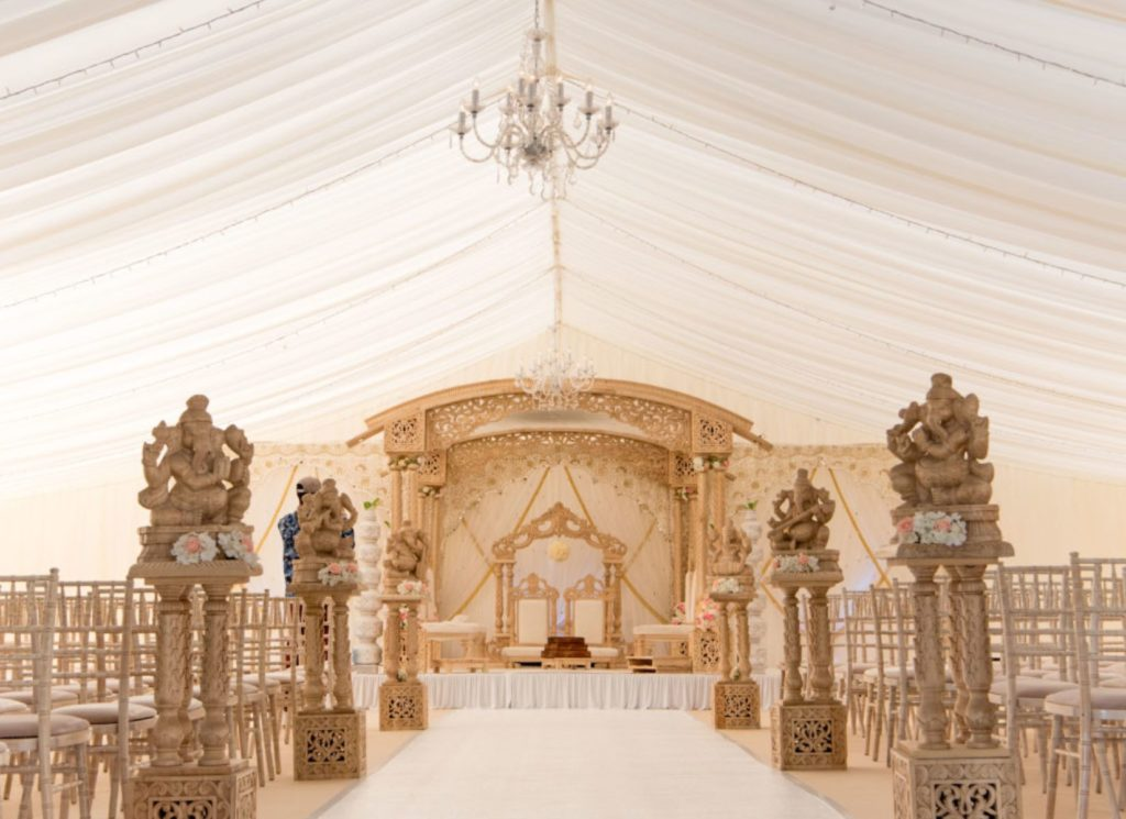 Asian Wedding Marquee with White Carpet Entrance