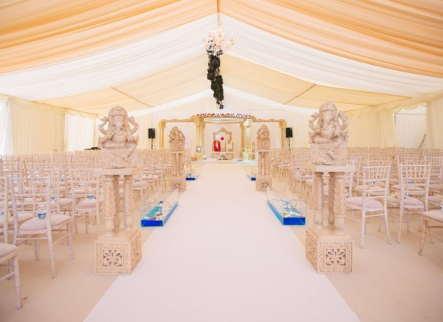 Asian Wedding Marquee with Wooden Chivali Chairs