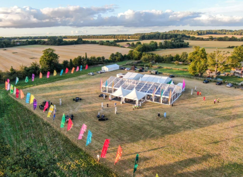 Birdseye View of Full Panoramic Party Marquee