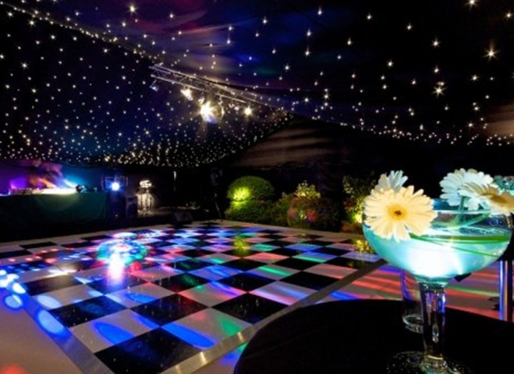 Black & White Dance Floor inside Party Marquee