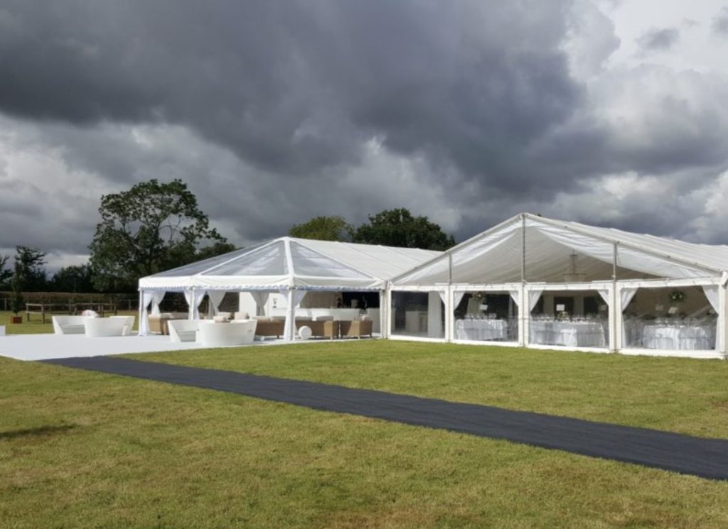 Clearspan Hex-end and Gable Ended Wedding Marquee