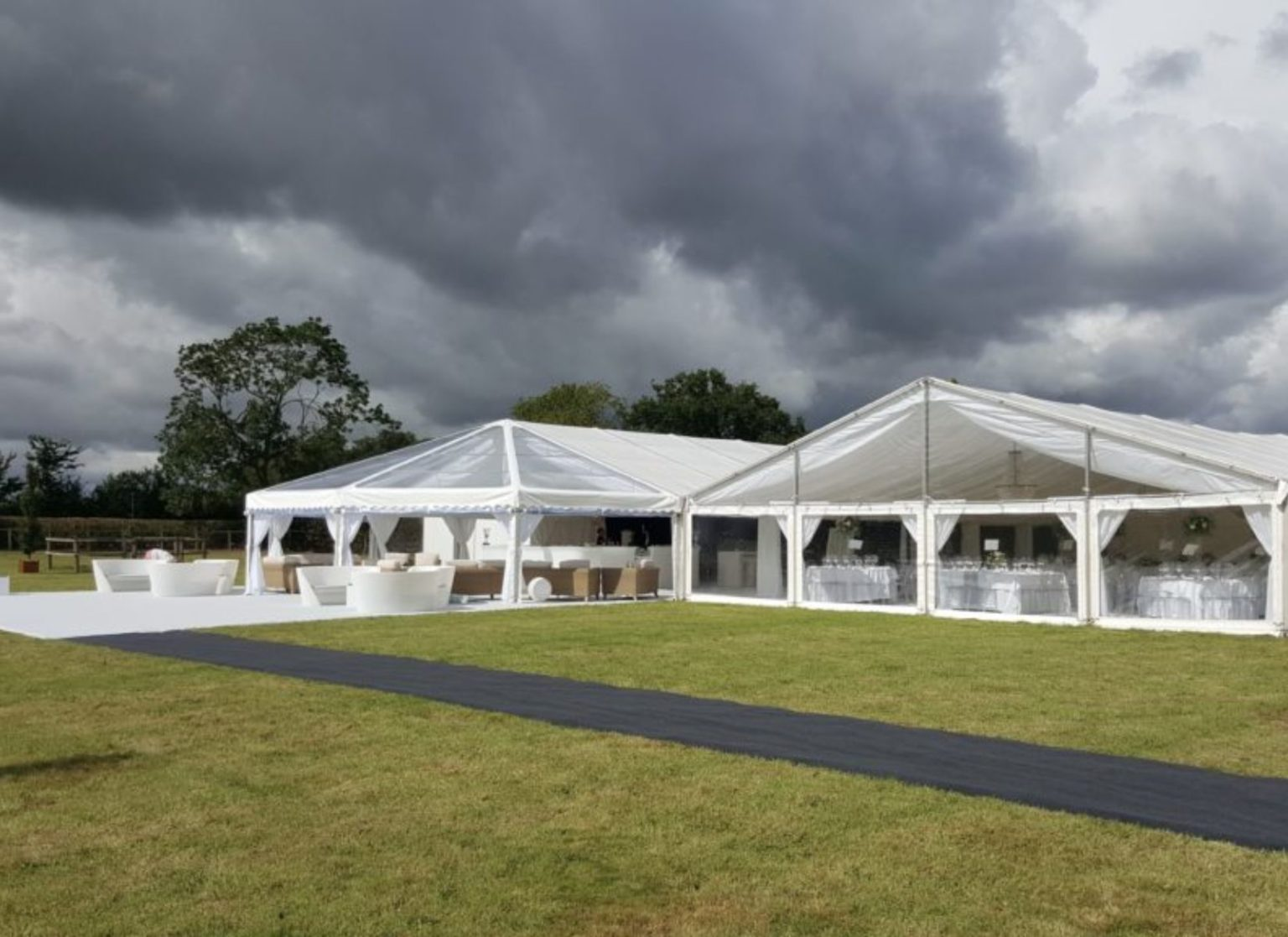 Clearspan Hex-end and Gable Ended Wedding Marquees