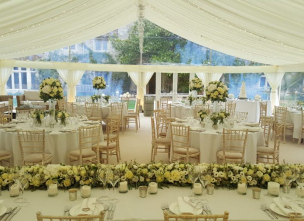 Clearspan Gable End Wedding Marquee with Wooden Chivali Chairs