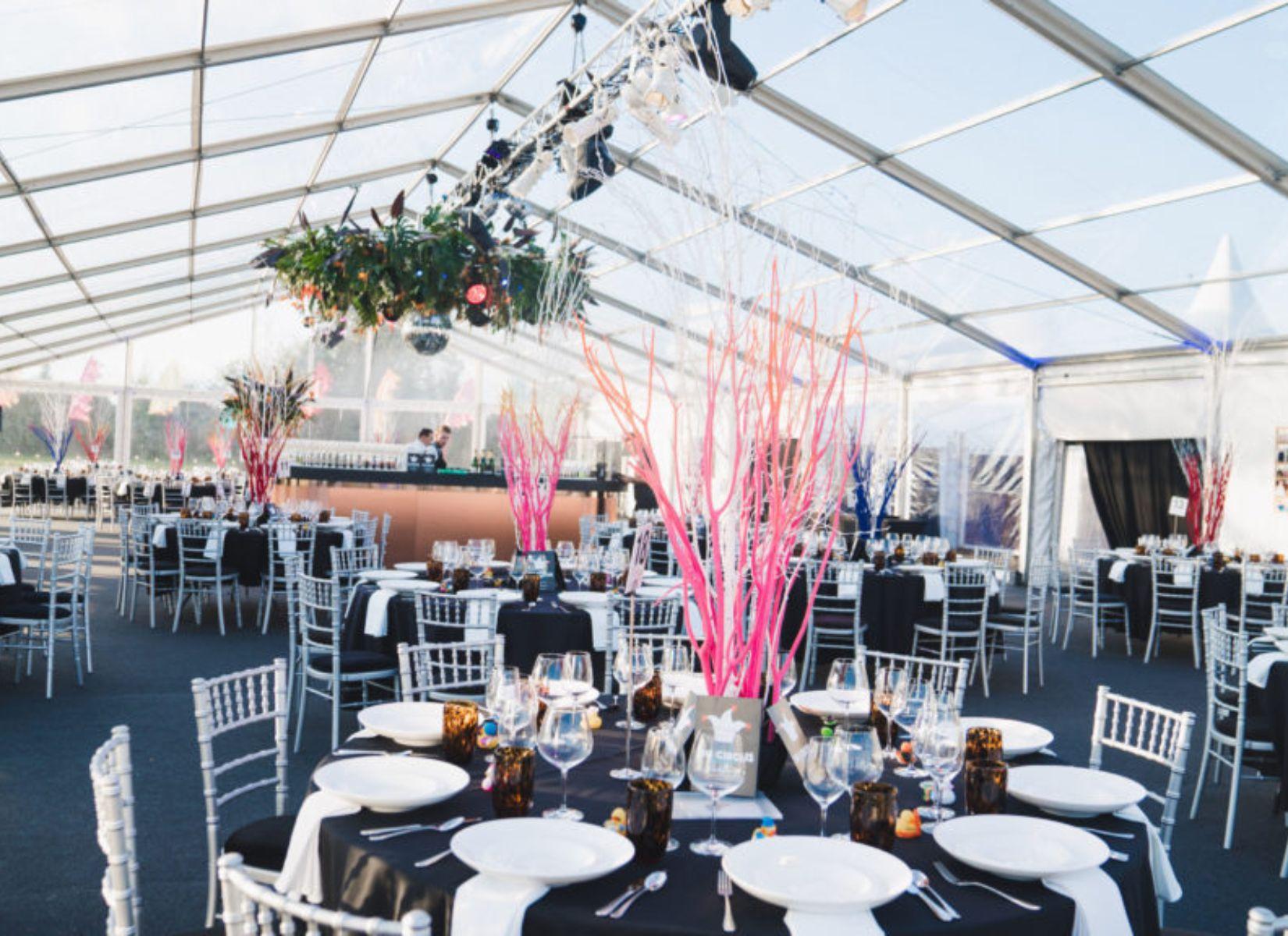 Copper Bar inside Clearspan Wedding Marquee