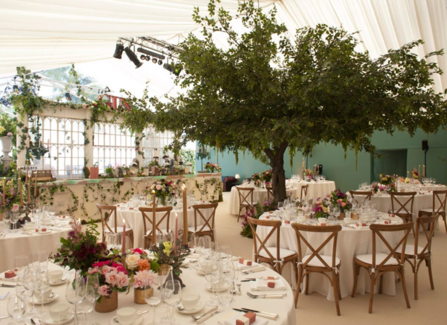 Flower Themed Wedding Marquee internal
