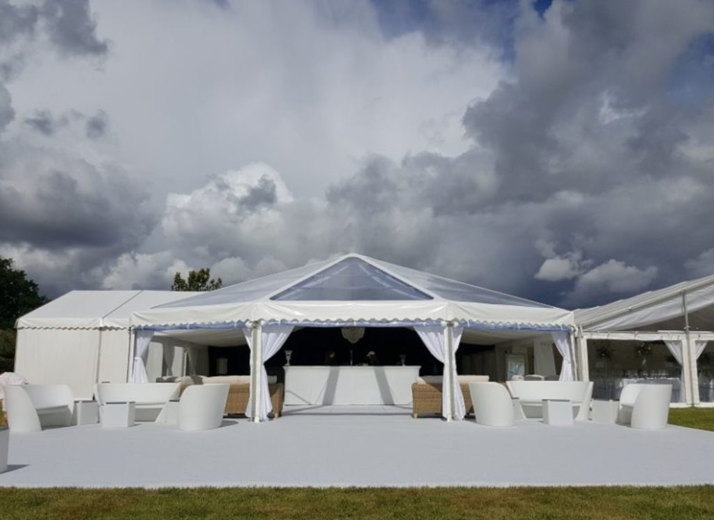Hex-End with Carpet Extension inside Corporate Event Marquee