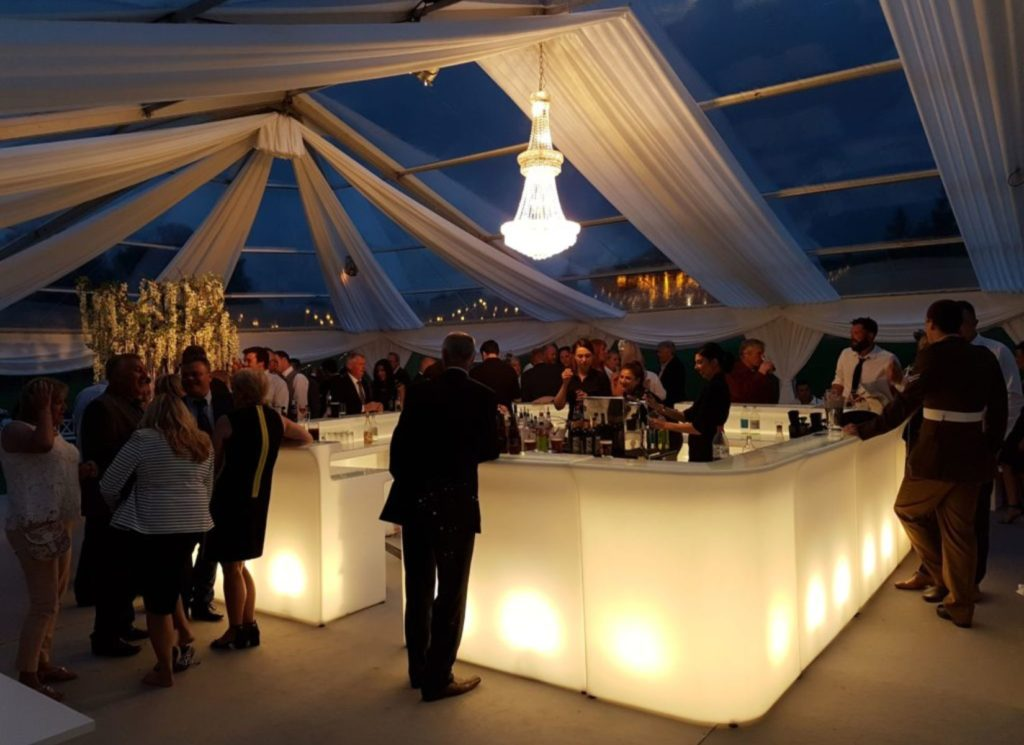 Illuminated Bar inside Panoramic Marquee