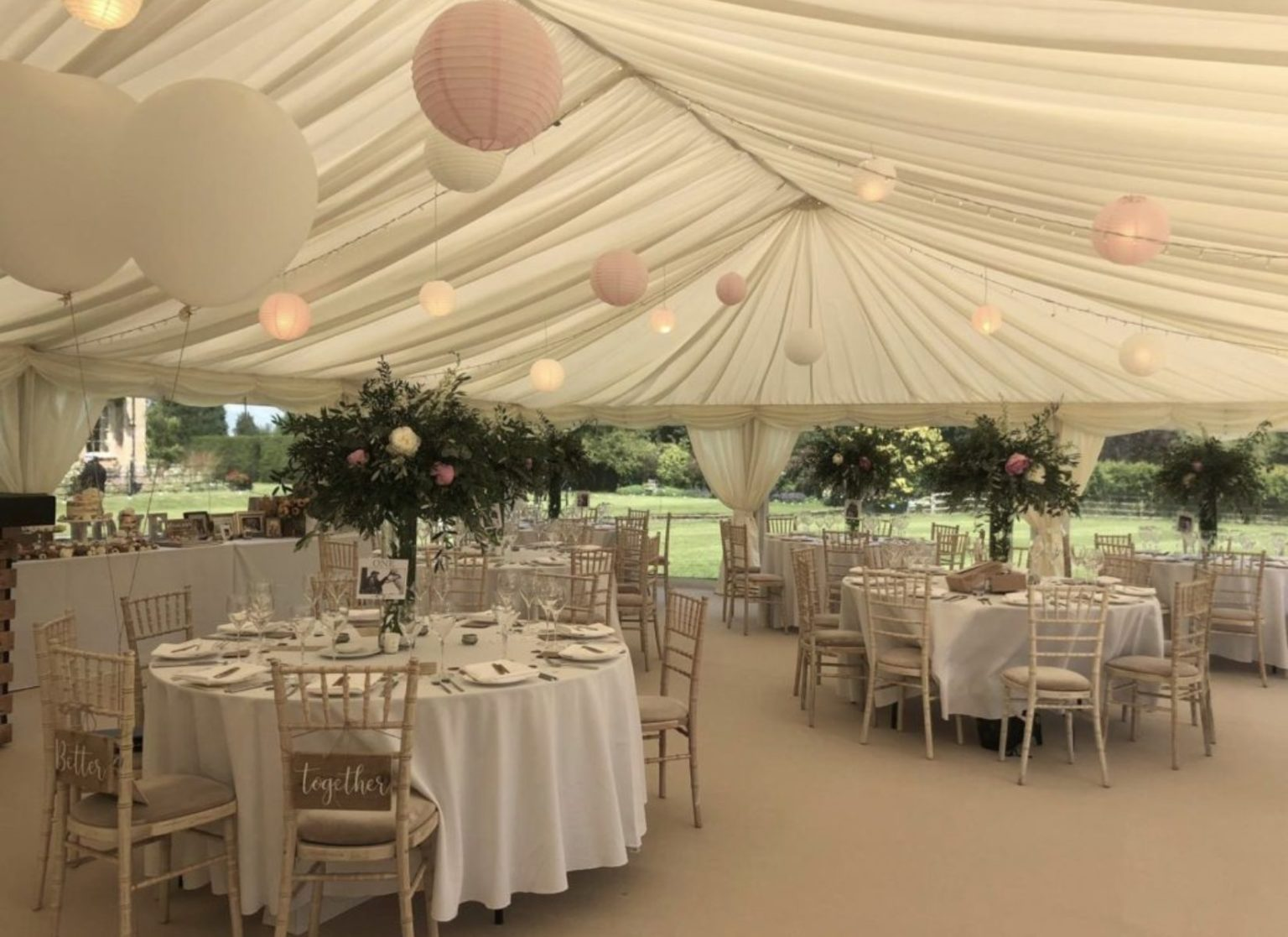 Lantern Lighting and Pleated Lining inside Wedding Marquee