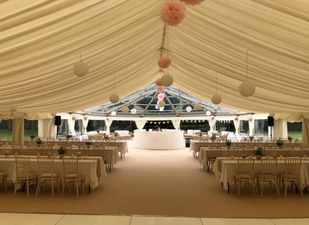 Lantern Lighting in Wedding Marquee