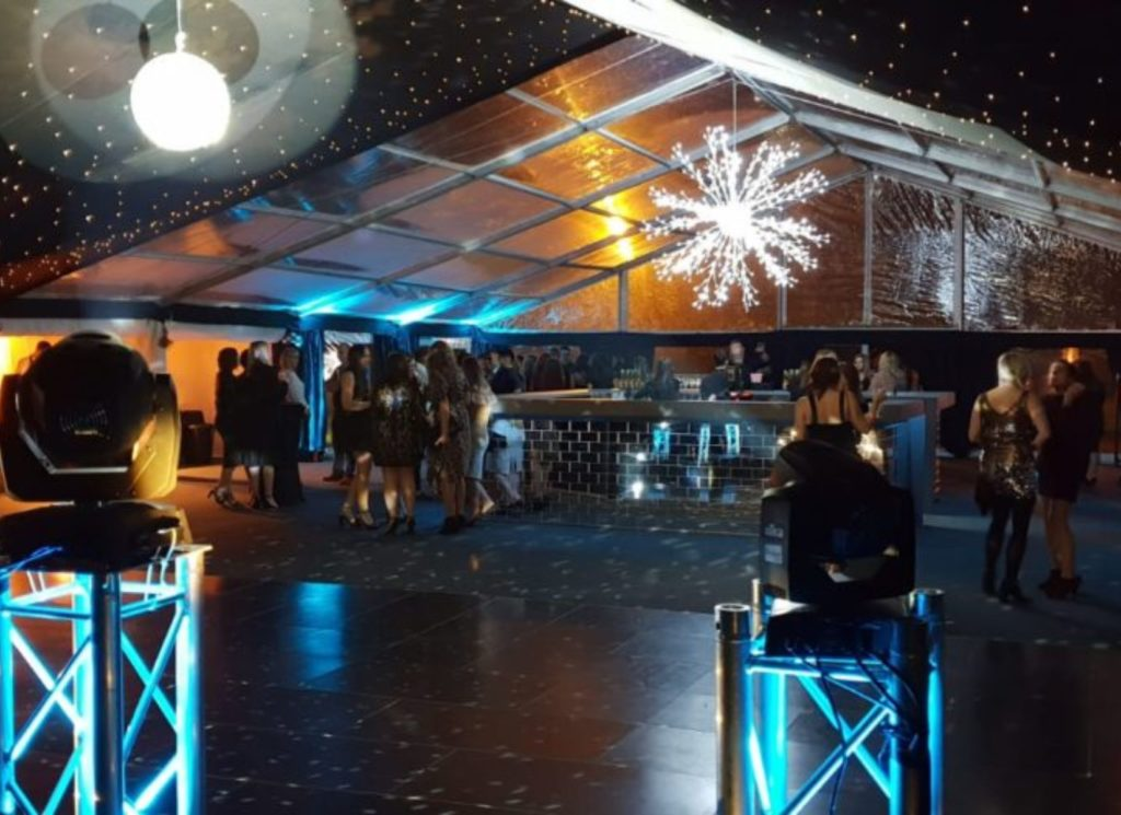 Part Clearspan Party Marquee with Black Starlight Lining