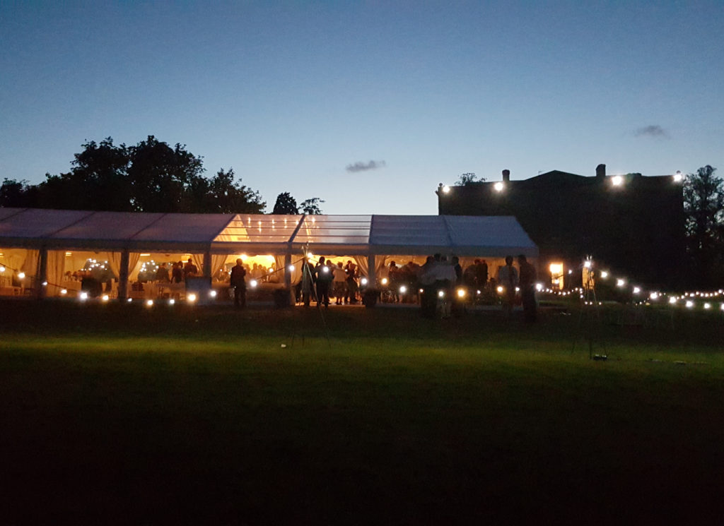 Party Marquee with Festoon Lighting