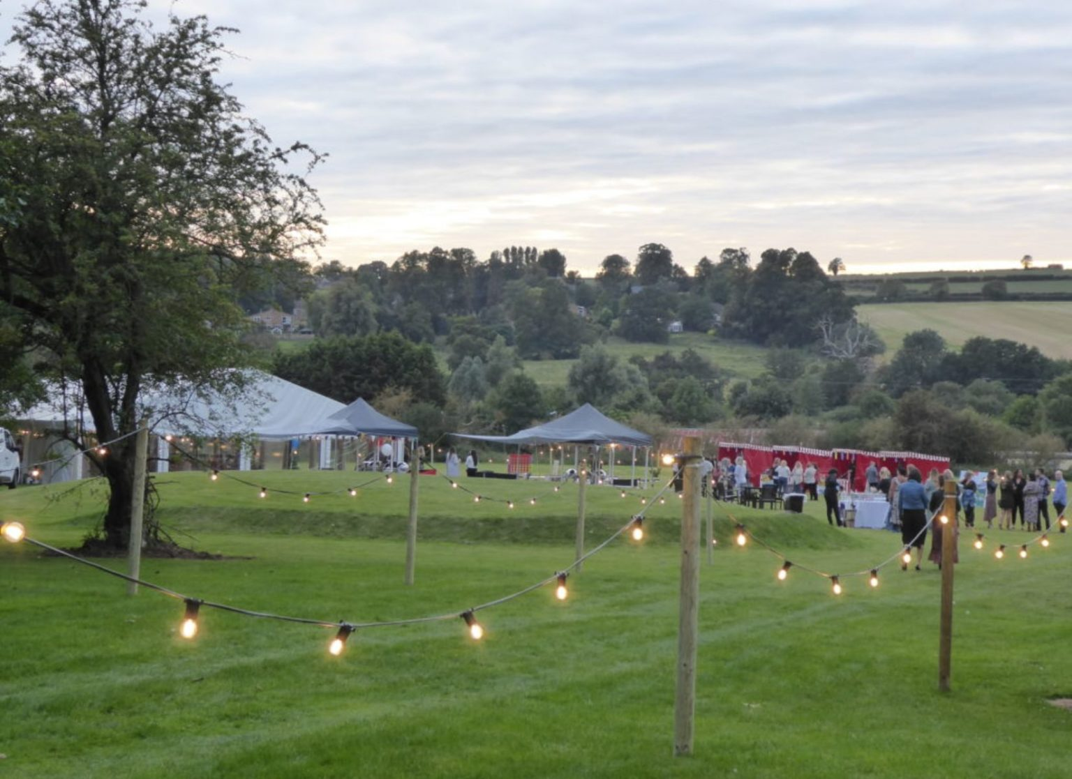 Party Marquee with Outdoor Festoon Lighting