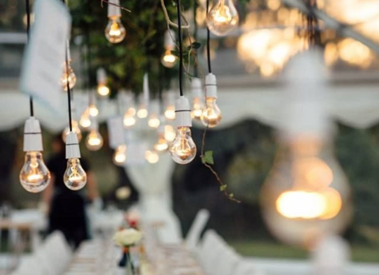 Pendant Lighting inside Wedding Marquee