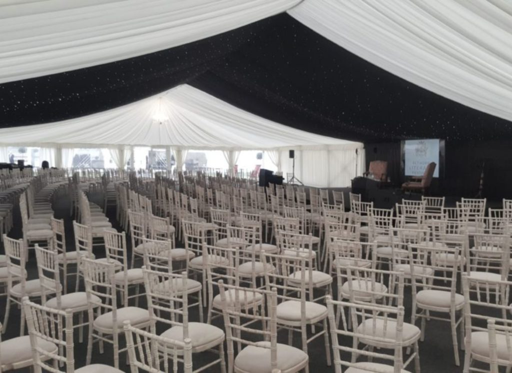 Pleated Ivory and alternated Black Starlight Lining within Corporate Event Marquee