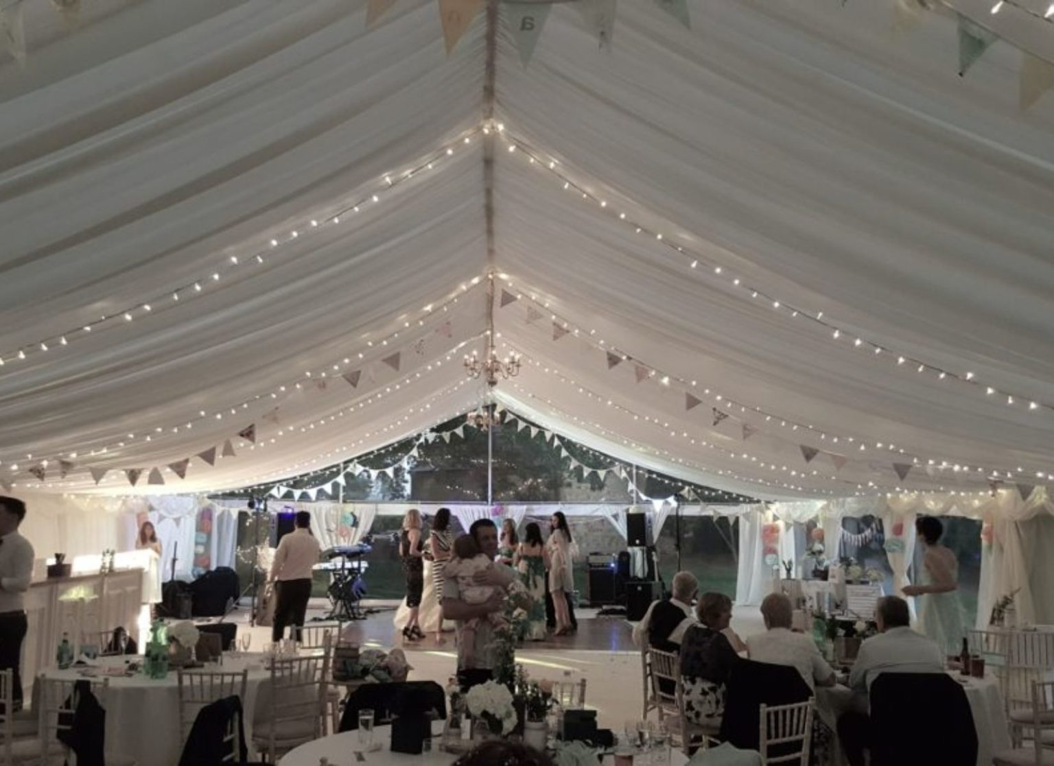 Pleated Lining and Fairy Lights in Wedding Marquee
