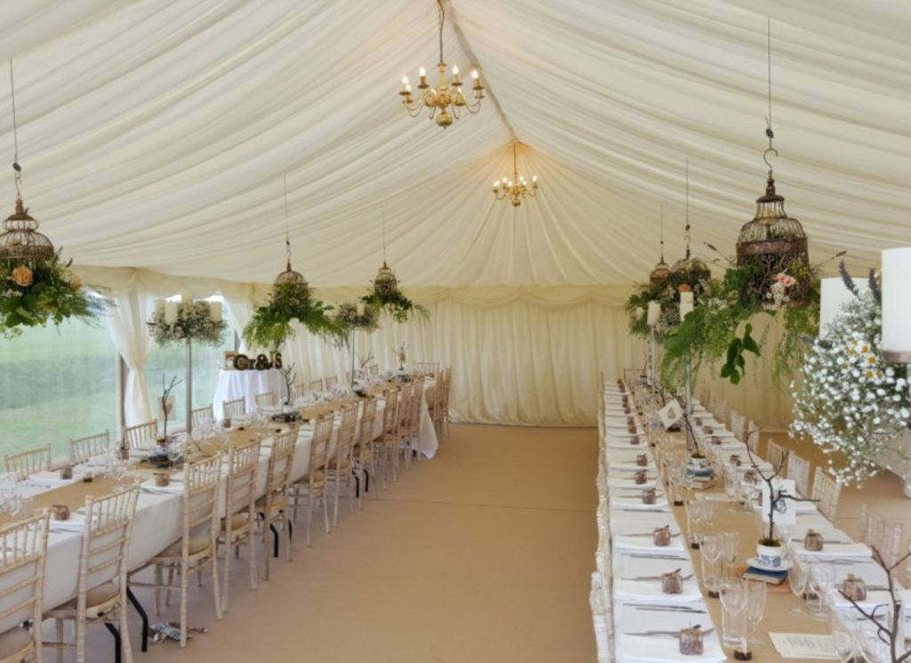 Wedding Marquee with Ivory Pleated Lining