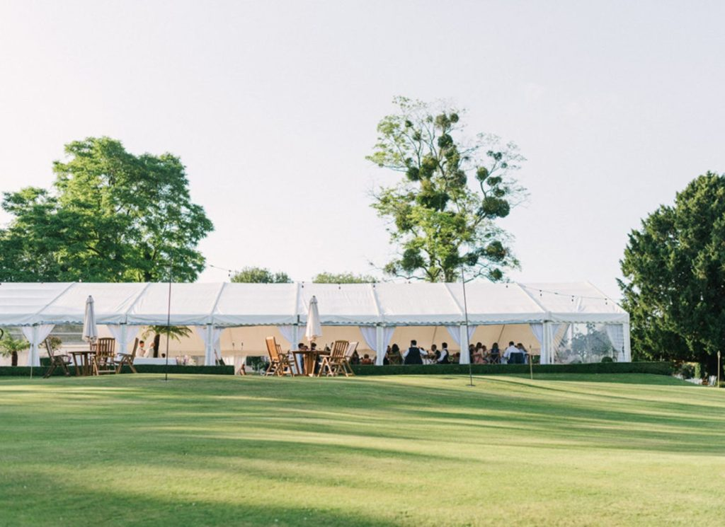 Wedding Marquee with Sides Up and Festoon-Lighting