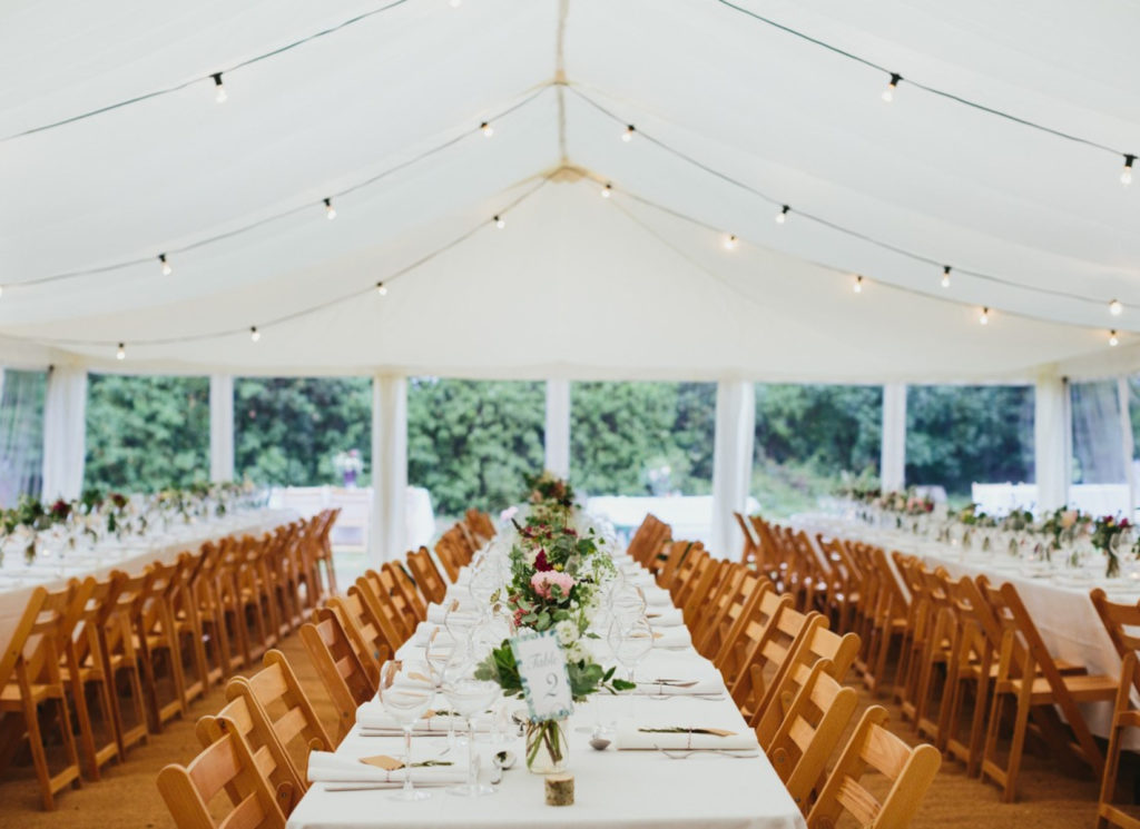 White Flat Linings with Festoon Lighting Marquee Wedding