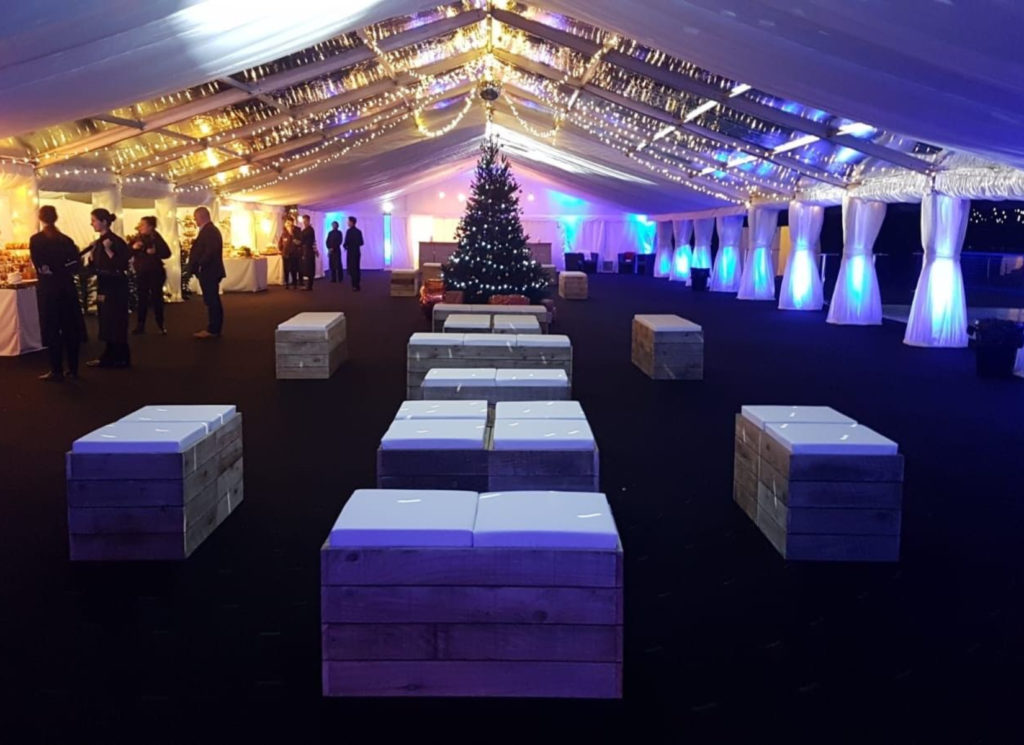 White Pallet Furniture in Party Marquee