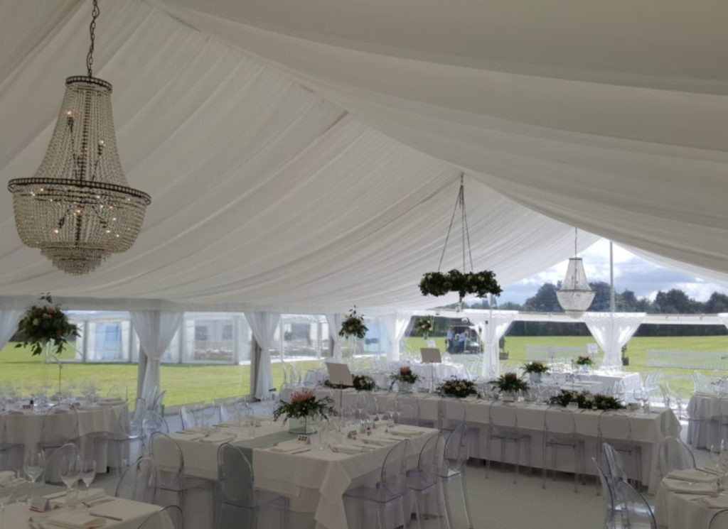 White Wedding Marquee with Chandelier