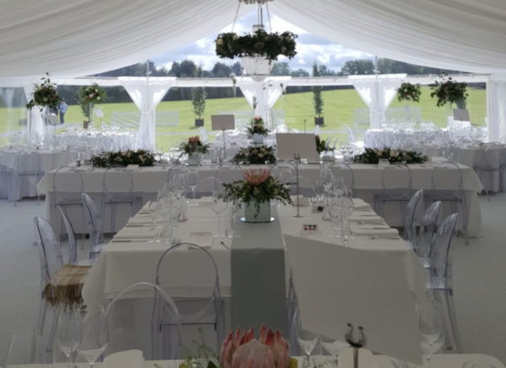 White Wedding Marquee with Ghost Chivari Chairs